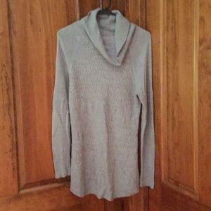 Grey tunic cowl neck sweater